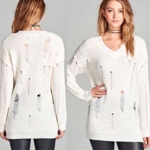 Sweaters - Ivory Distressed Knit V-Neck Sweater